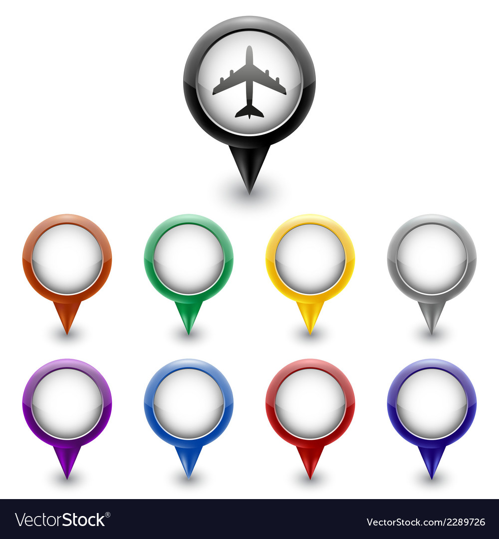 Colorful map markers vector | Price: 1 Credit (USD $1)