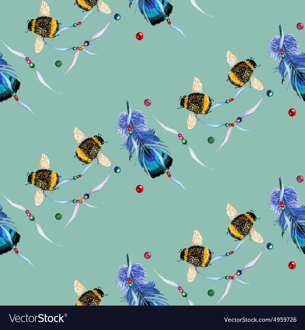 Feather and bee blue green row pattern vector