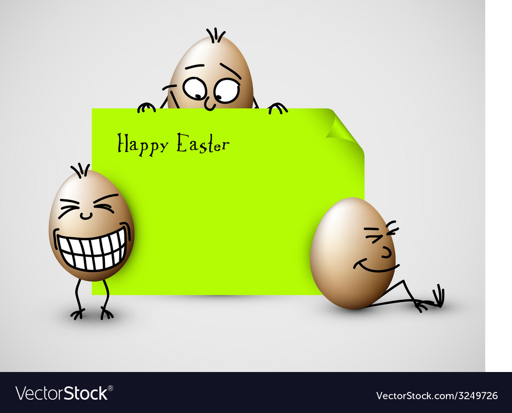 Funny easter card with eggs vector | Price: 1 Credit (USD $1)