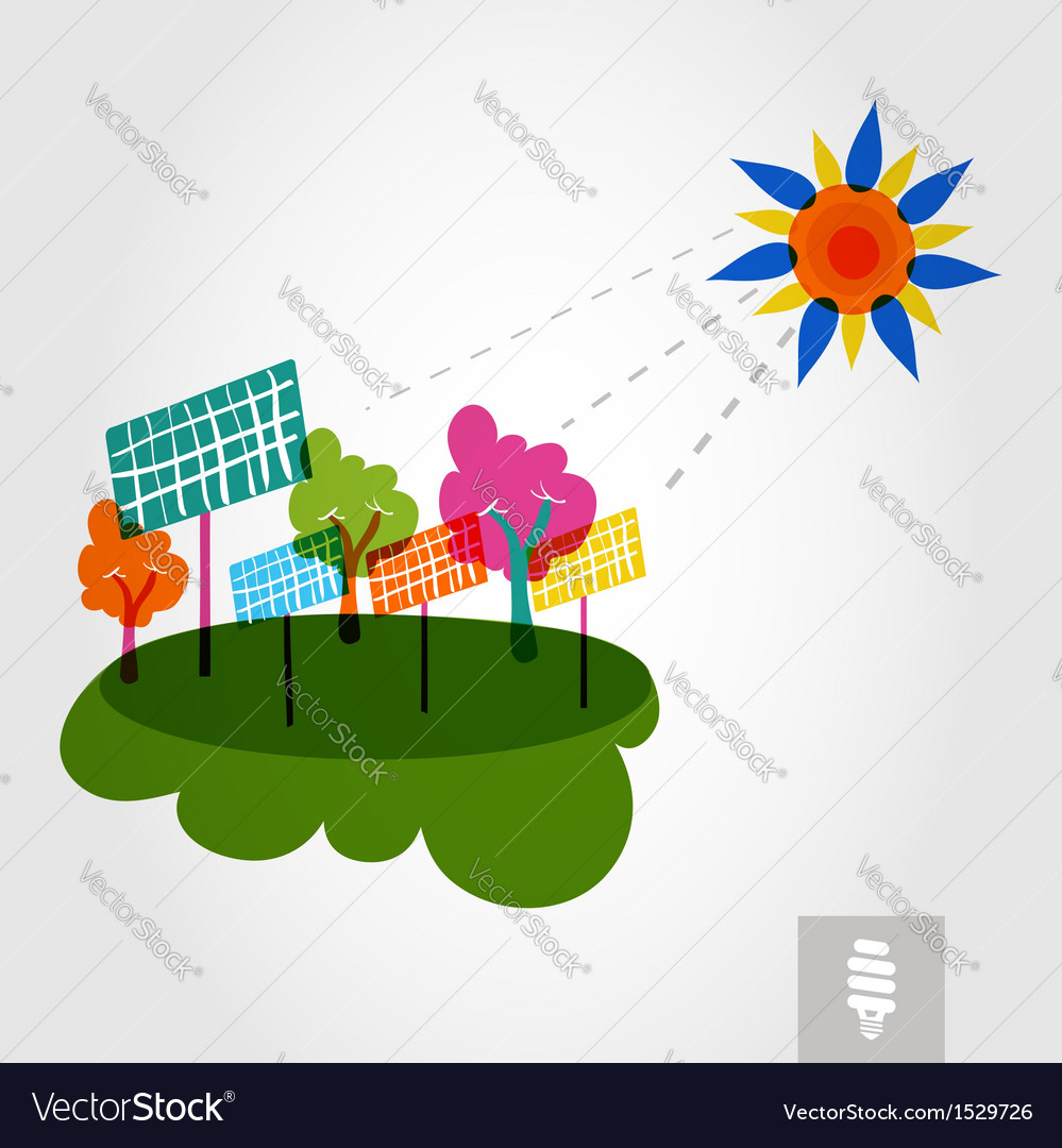 Go green city sun trees and solar panels vector | Price: 1 Credit (USD $1)