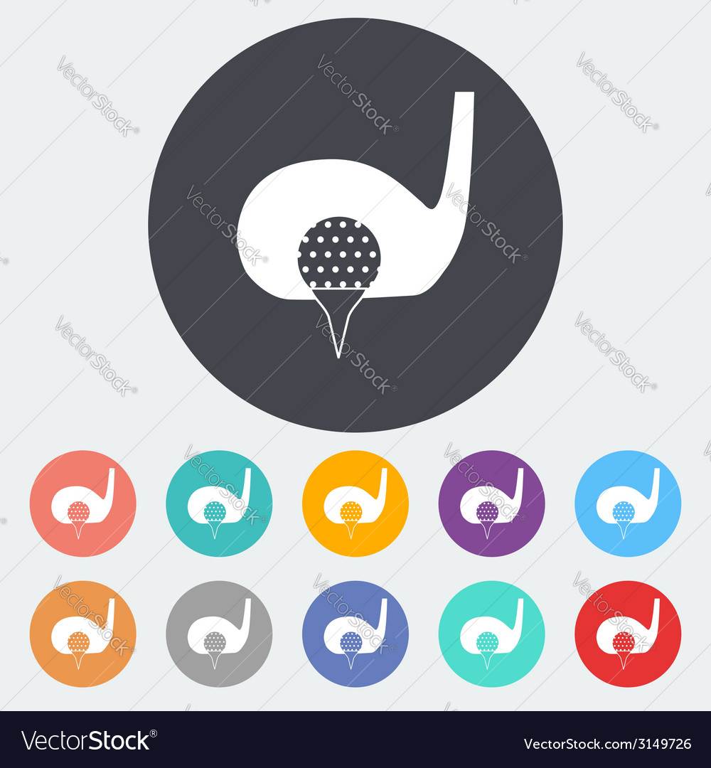 Golf flat single icon vector | Price: 1 Credit (USD $1)