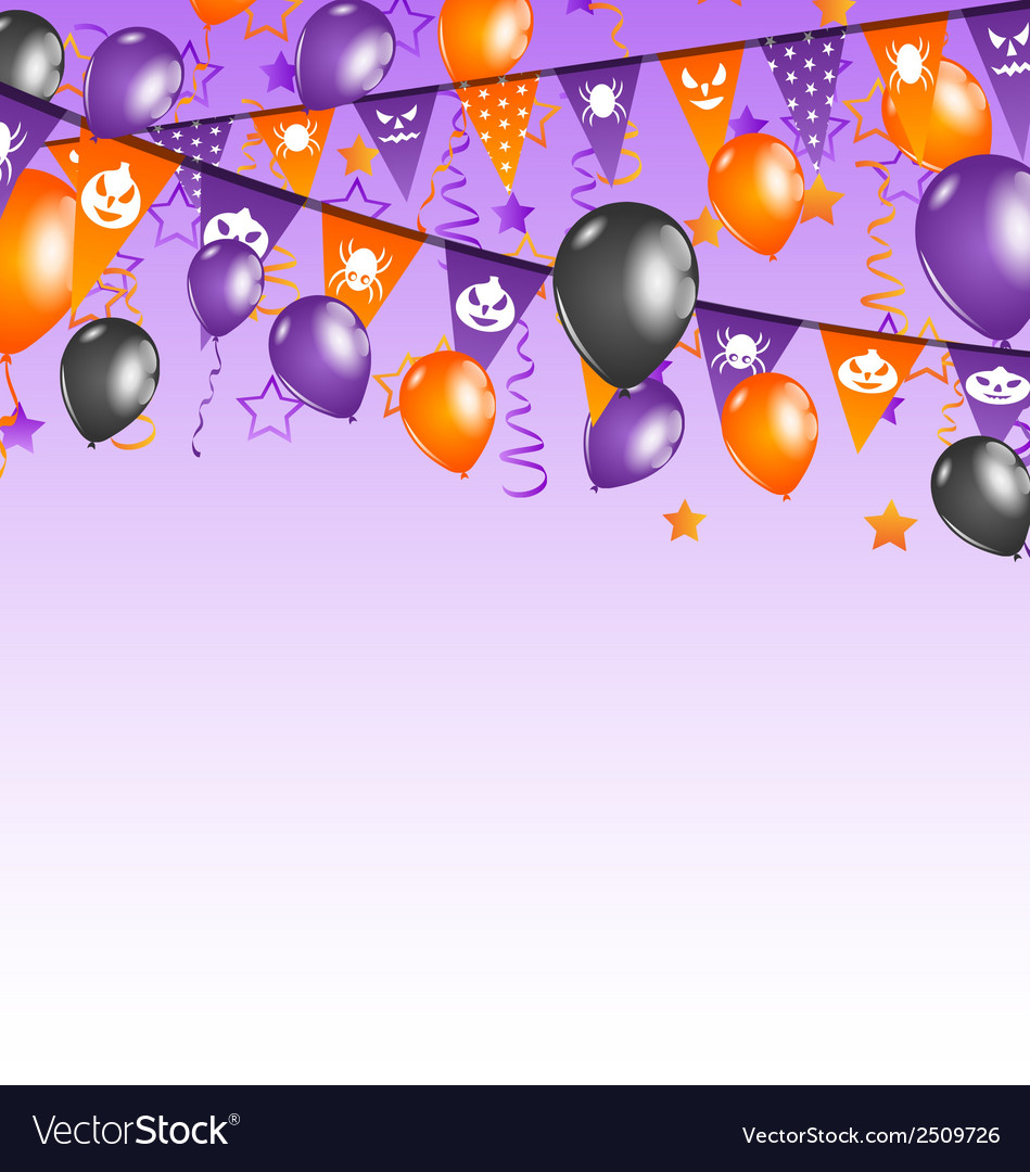Halloween background with hanging flags and vector | Price: 1 Credit (USD $1)