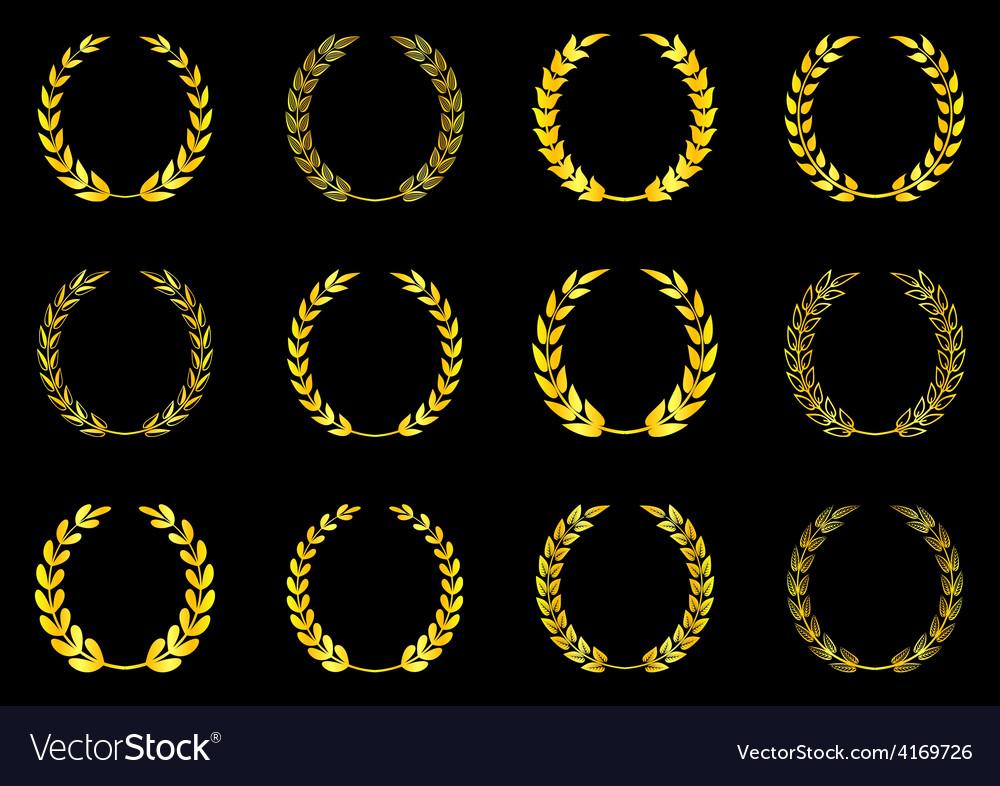 Laurel wreaths collection vector | Price: 1 Credit (USD $1)