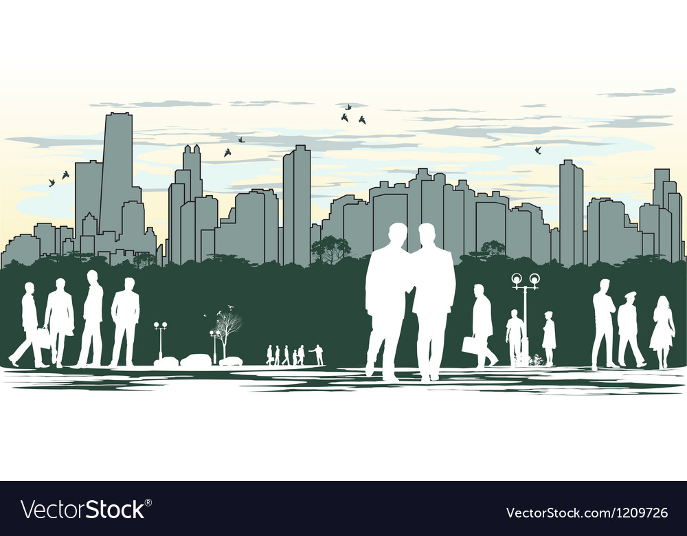 Outline silhouette of the city with crowd of vector | Price: 1 Credit (USD $1)