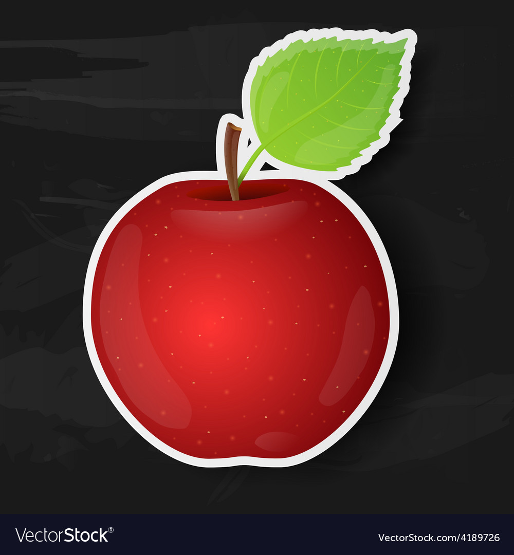 Red apple isolated on black background vector | Price: 1 Credit (USD $1)
