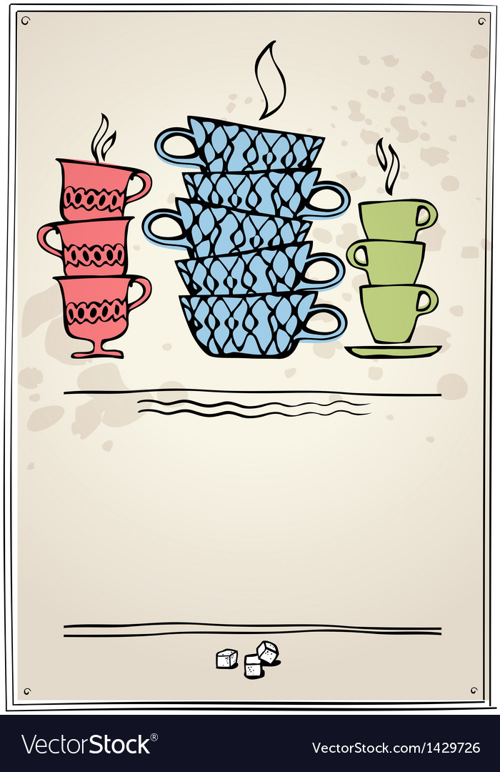 Retro frame with cup of tea vector | Price: 1 Credit (USD $1)