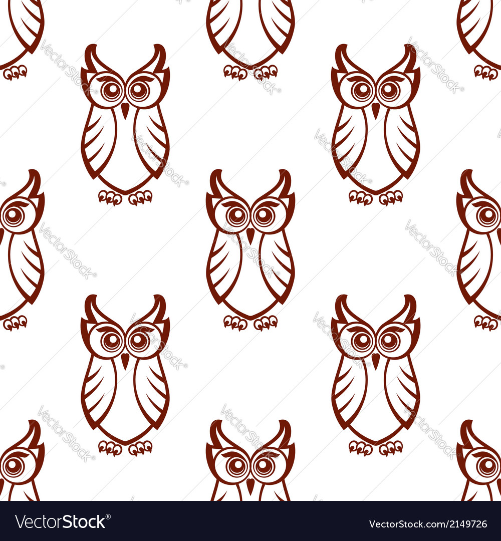 Seamless pattern of a wise old owl vector | Price: 1 Credit (USD $1)