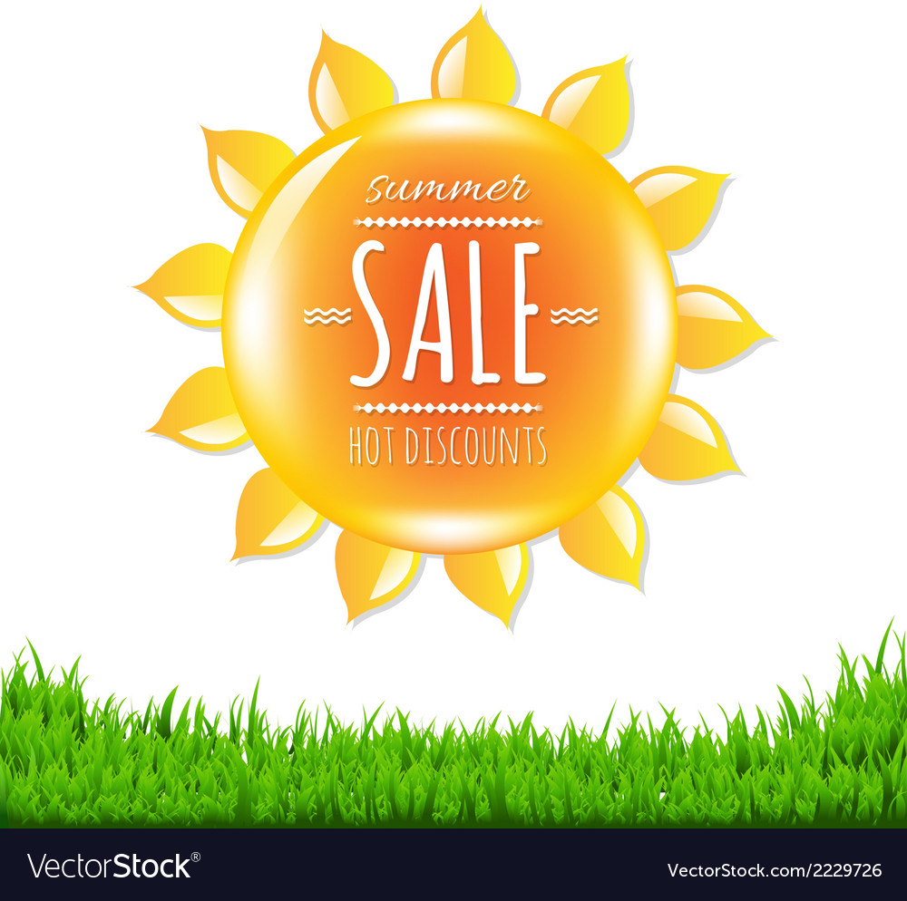 Summer sale banner with sun vector | Price: 1 Credit (USD $1)