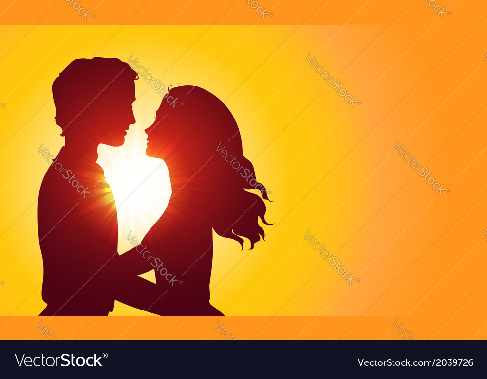 Sunset silhouettes of kissing couple vector | Price: 1 Credit (USD $1)