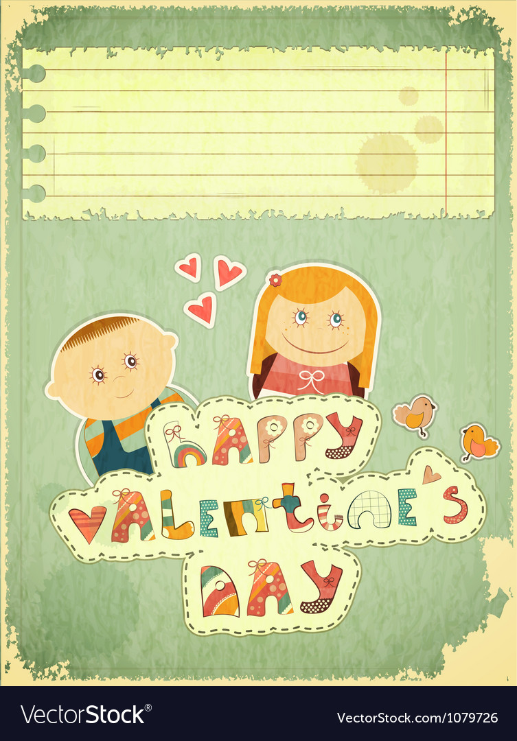 Vintage design valentines day card vector | Price: 1 Credit (USD $1)