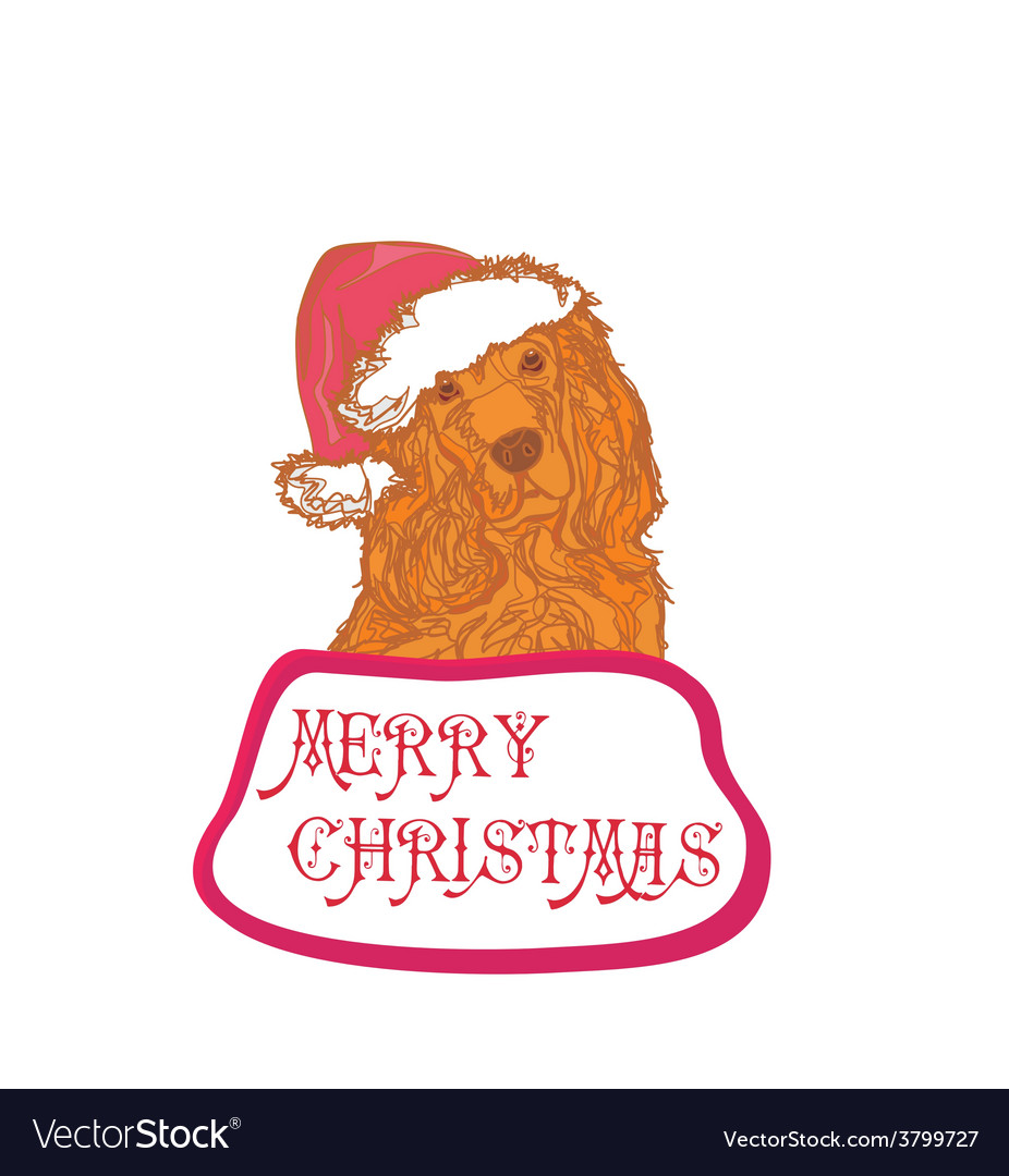 American cocker spaniel laying down wearing santa vector | Price: 1 Credit (USD $1)