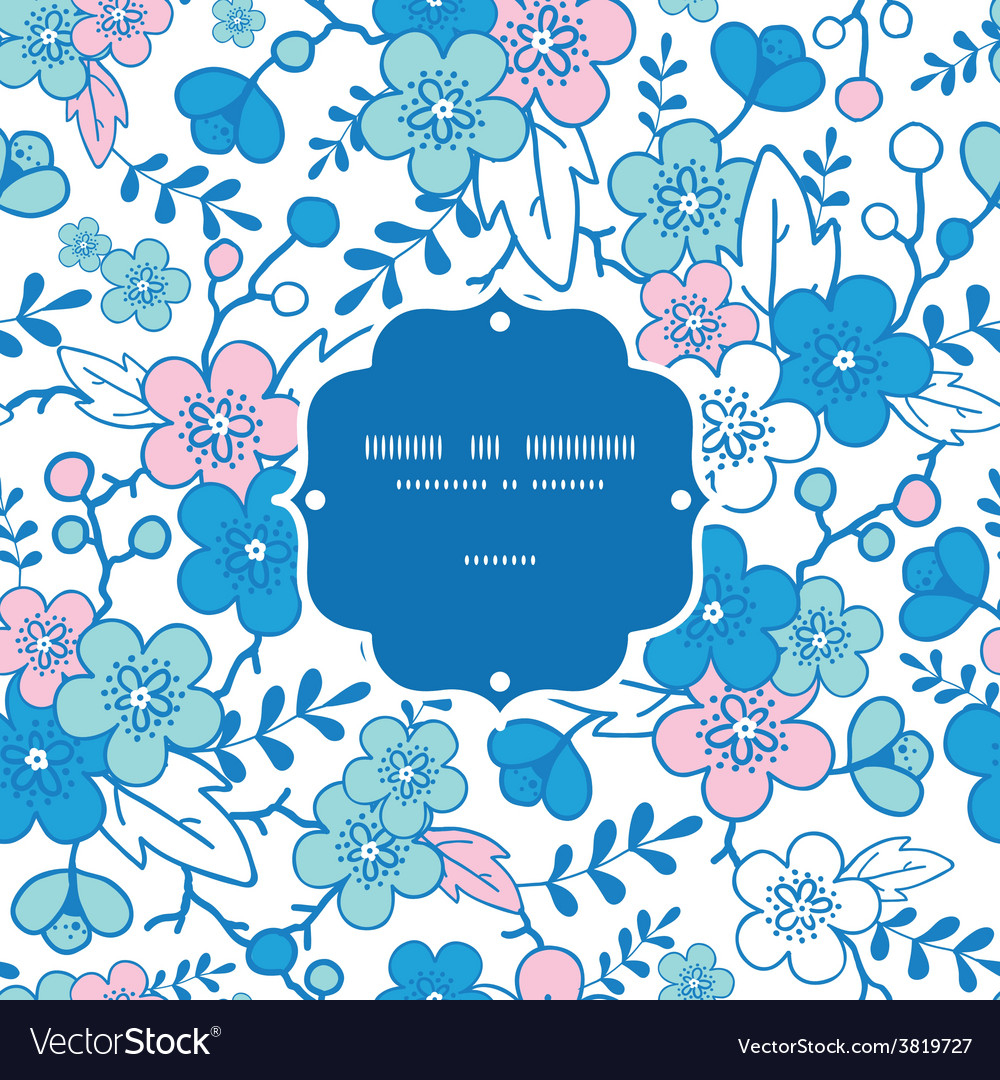 Blue and pink kimono blossoms frame vector   Price: 1 Credit (USD $1)