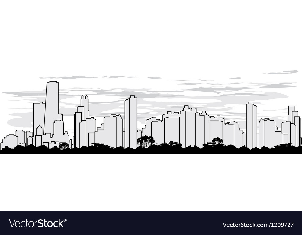 Outline silhouette of the city vector | Price: 1 Credit (USD $1)