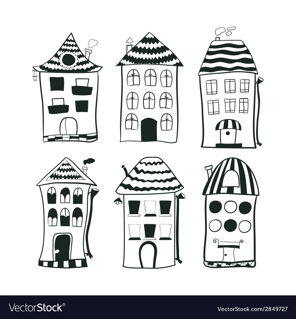 Set sketch black and white outline houses in vector | Price: 1 Credit (USD $1)
