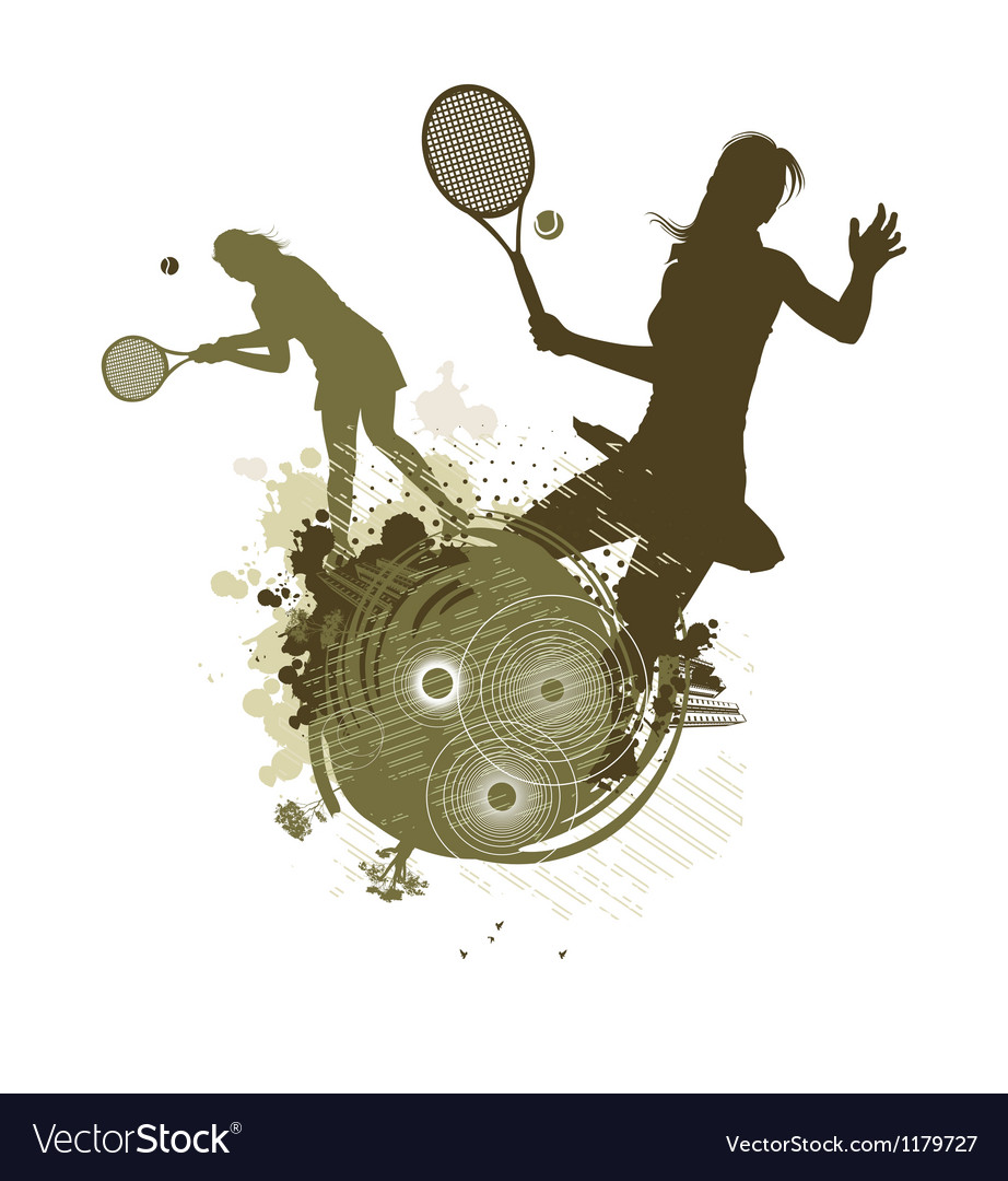 Tennis girl silhouettes vector | Price: 1 Credit (USD $1)