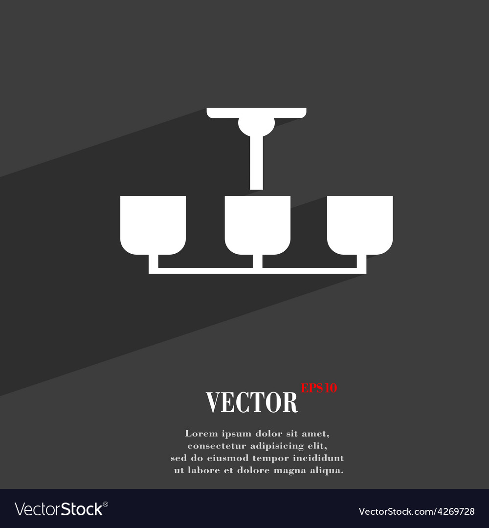 Chandelier light lamp icon symbol flat modern web vector | Price: 1 Credit (USD $1)