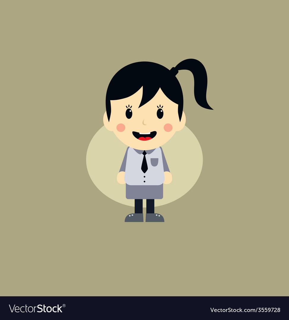 Cute girl cartoon character vector | Price: 1 Credit (USD $1)