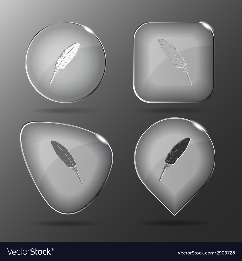 Feather glass buttons vector | Price: 1 Credit (USD $1)