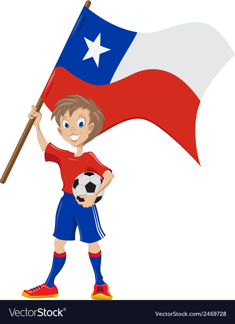 Happy soccer fan holds chile flag vector | Price: 1 Credit (USD $1)