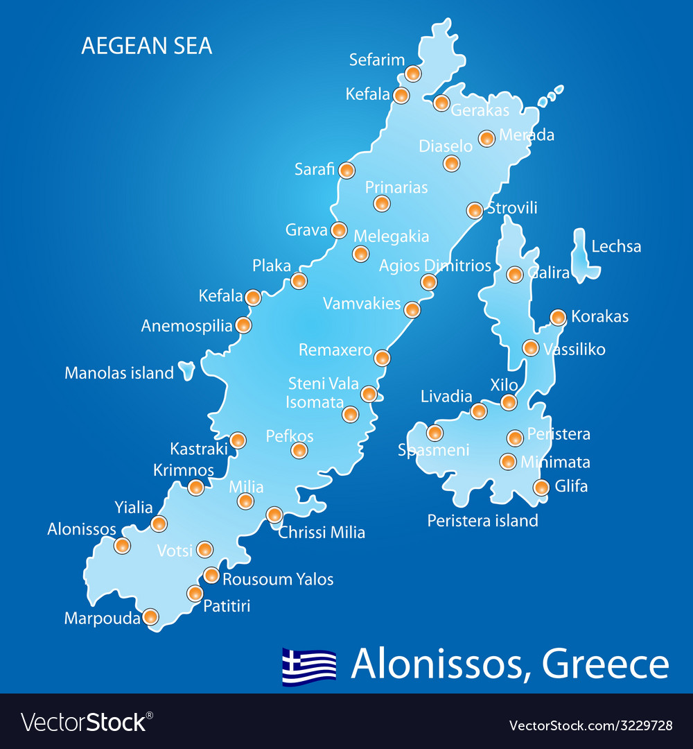 Island of alonissos in greece map vector | Price: 1 Credit (USD $1)