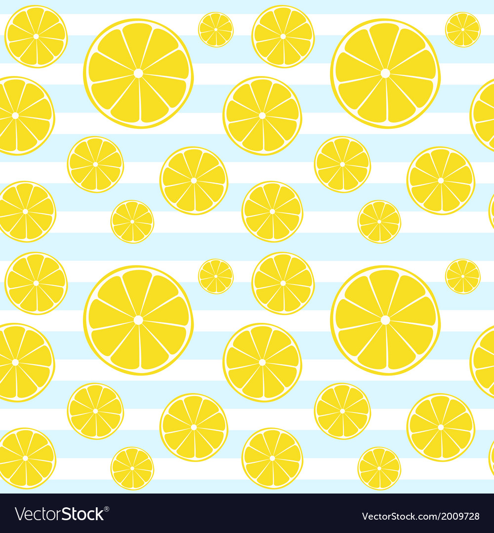Lemons slices on blue white striped seamless patte vector | Price: 1 Credit (USD $1)