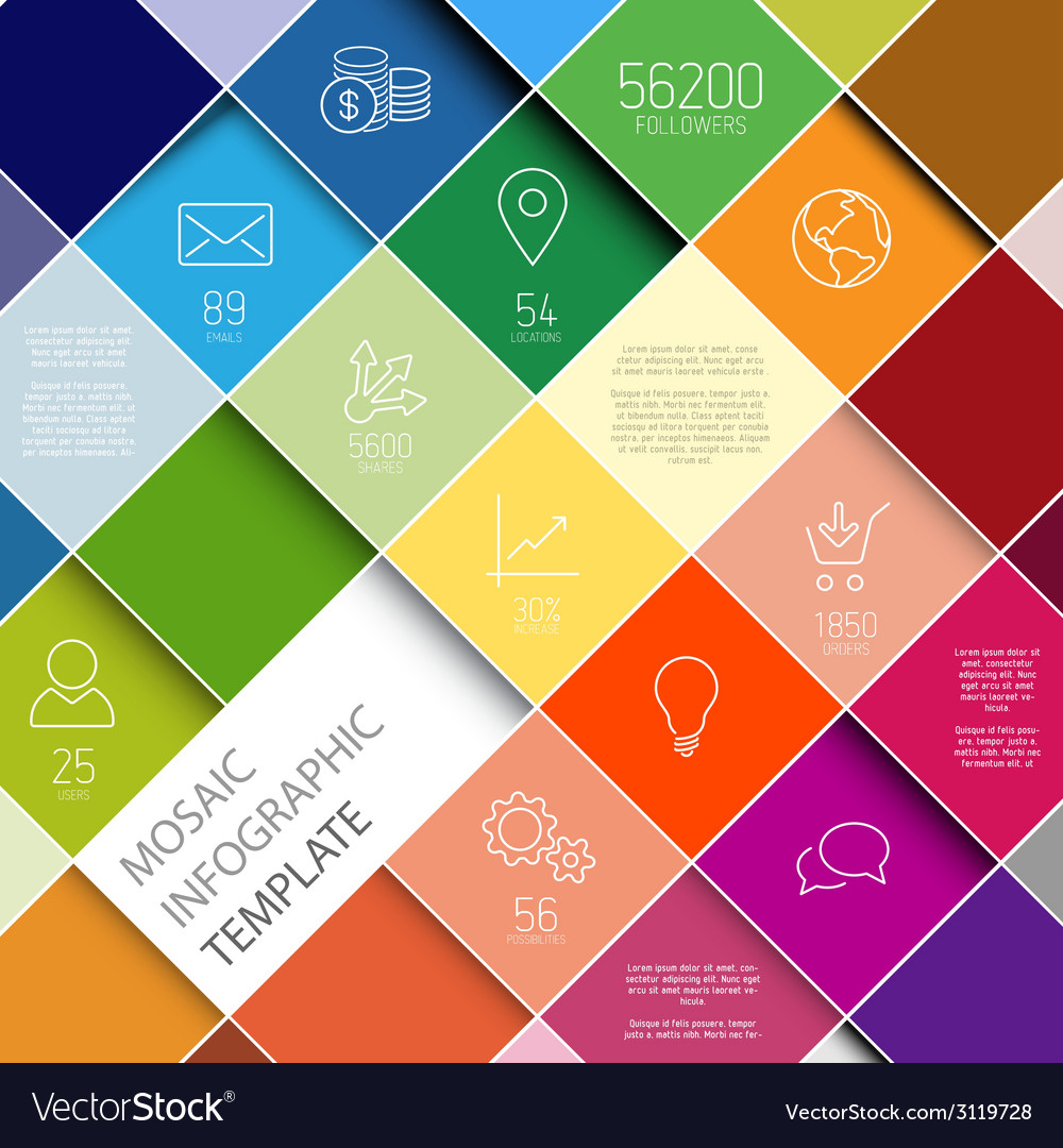 Raiinbow mosaic infographic template vector | Price: 1 Credit (USD $1)