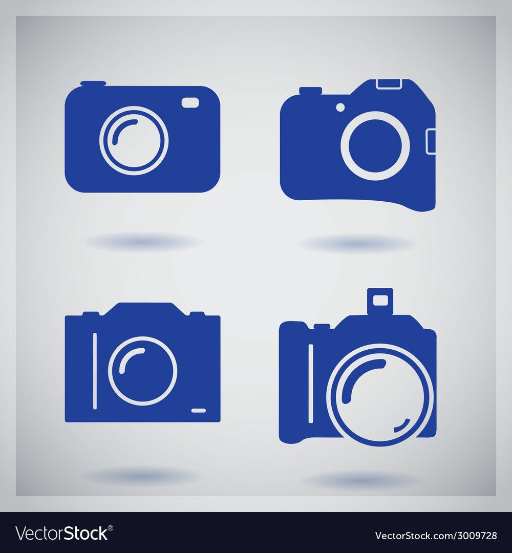 Set of four icons with camera vector | Price: 1 Credit (USD $1)