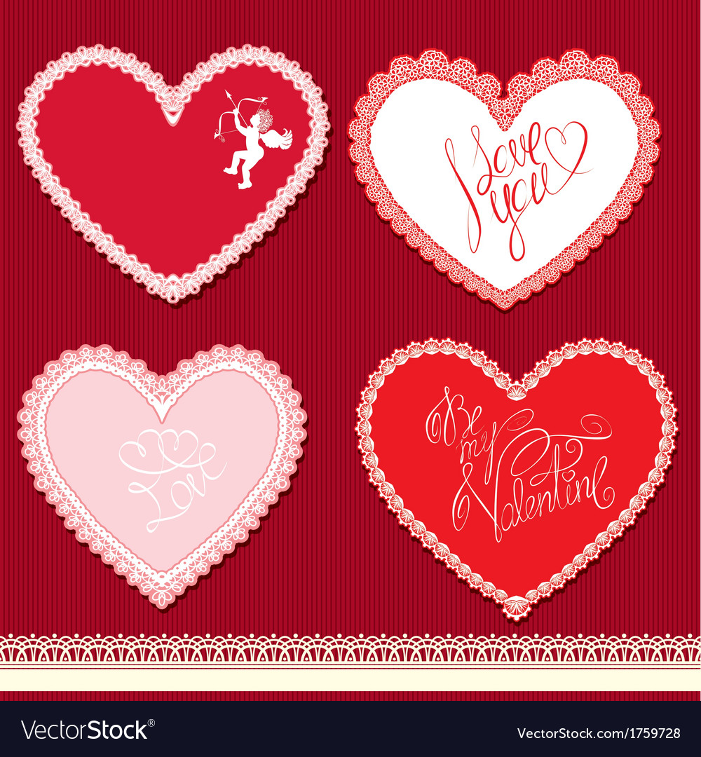 Set of hearts shape are made of lace doily element vector | Price: 1 Credit (USD $1)