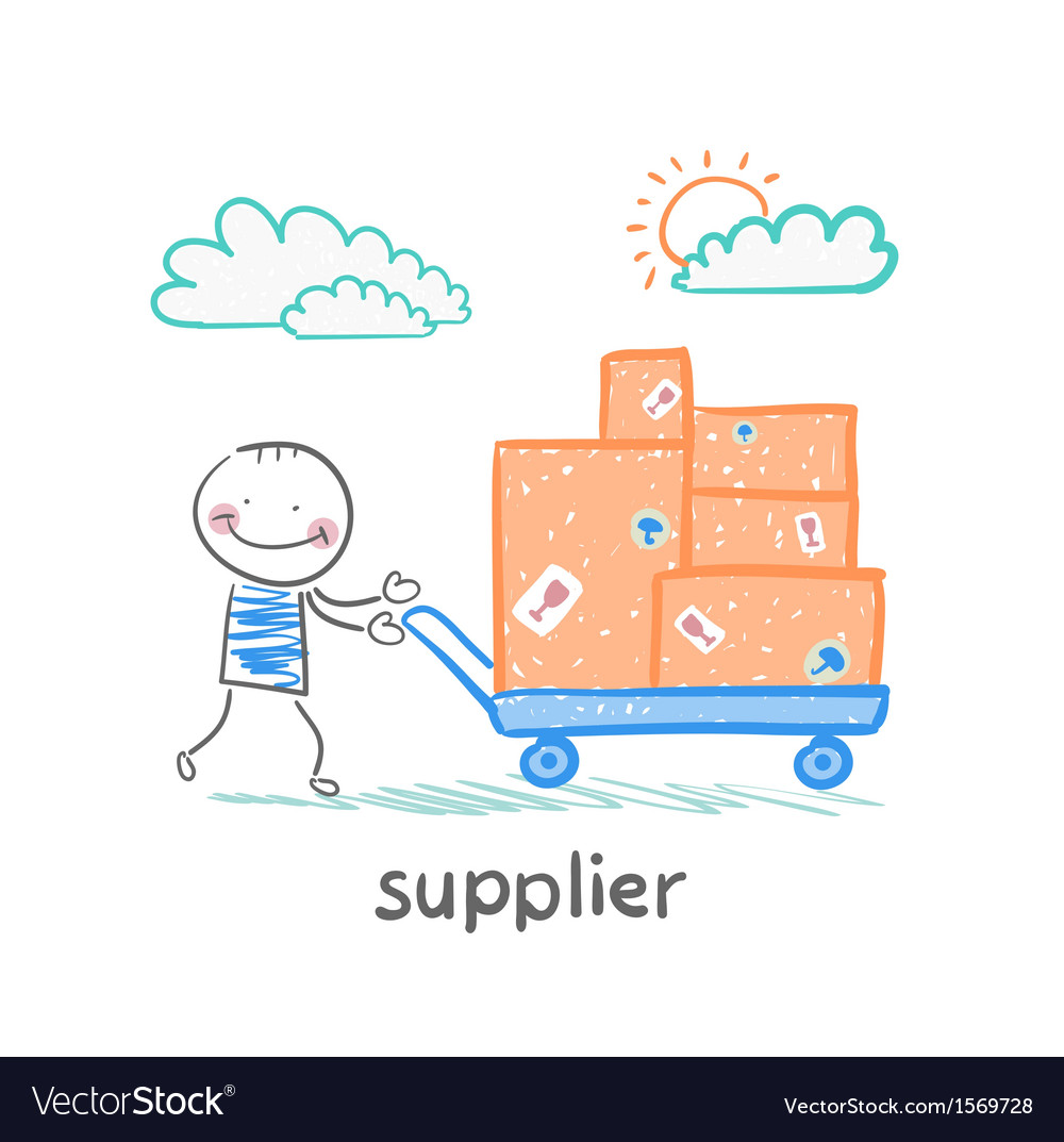 Supplier walks with a cart of goods vector | Price: 1 Credit (USD $1)