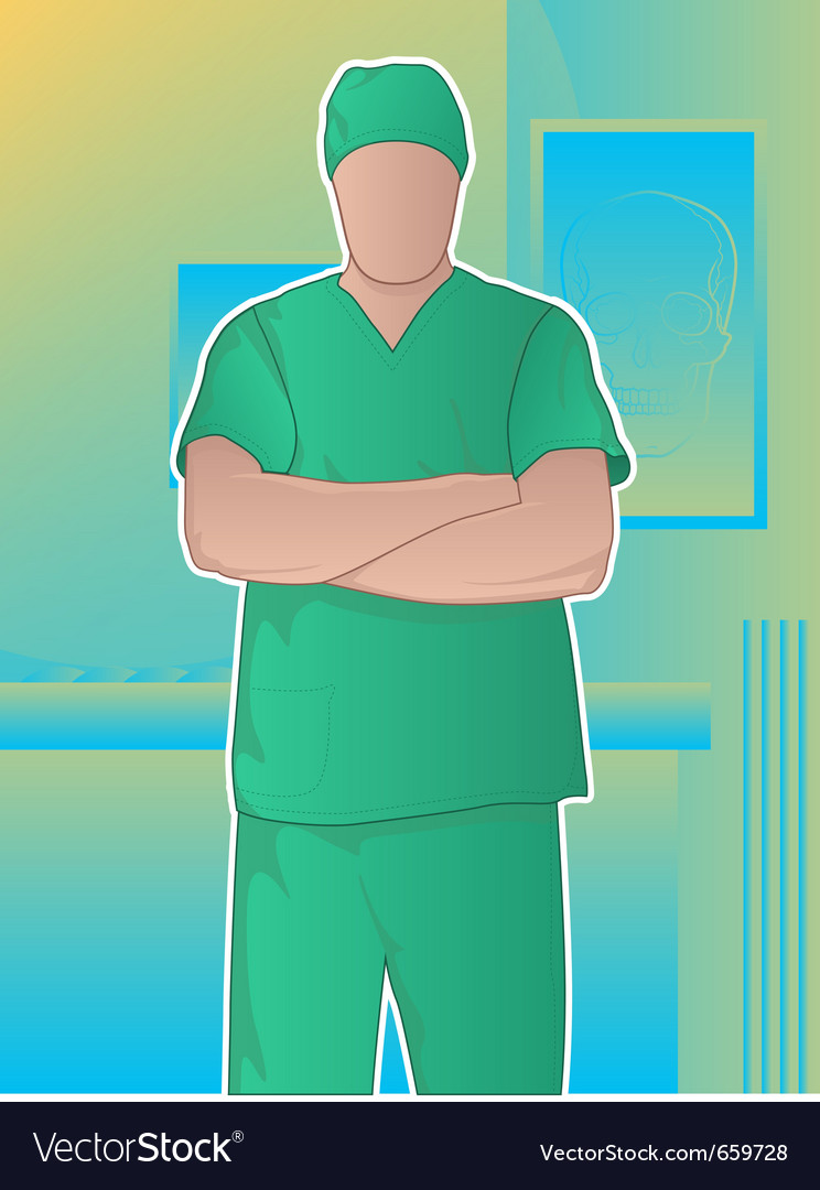 Surgeon in operating room vector | Price: 1 Credit (USD $1)