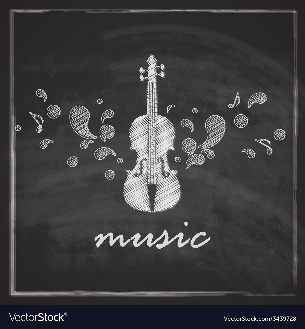 Vintage with the violin on blackboard background vector | Price: 1 Credit (USD $1)