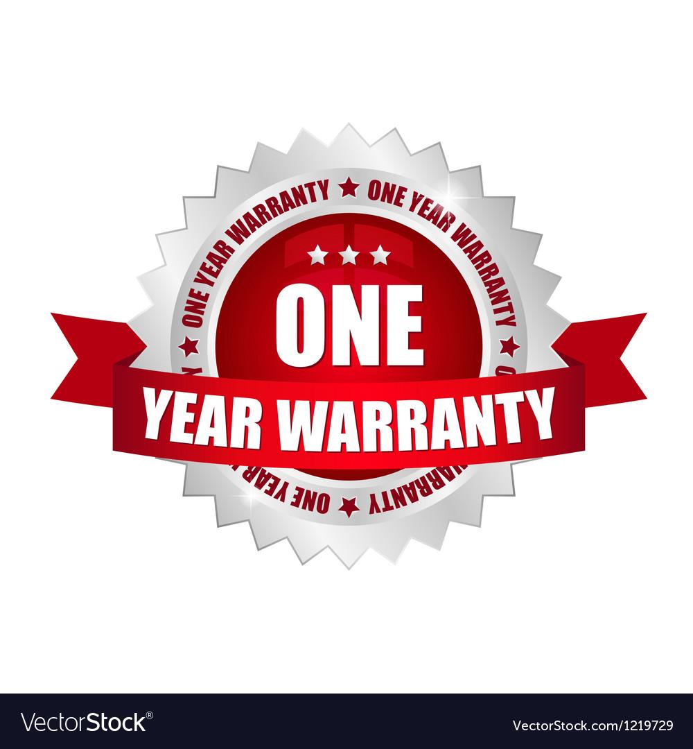 1 year warranty button vector