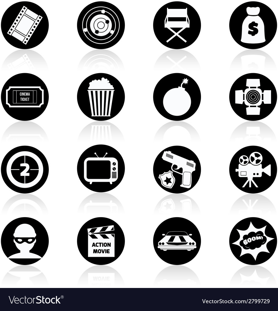 Action movie black and white vector | Price: 1 Credit (USD $1)