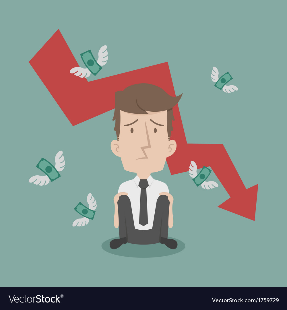 Businessman fail and money flying vector | Price: 1 Credit (USD $1)