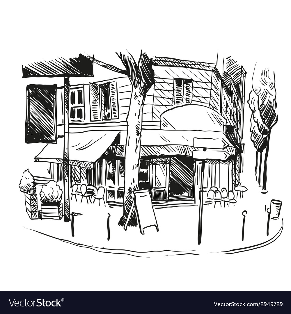 Cafe drawing vector | Price: 1 Credit (USD $1)