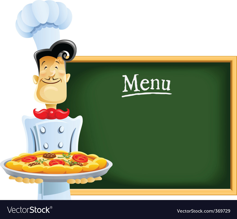 Cook with pizza and menu vector   Price: 3 Credit (USD $3)