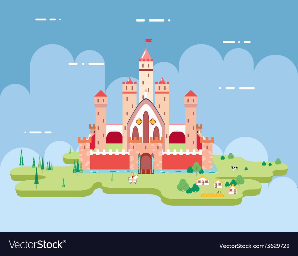 Flat design castle cartoon magic fairytale icon vector | Price: 1 Credit (USD $1)