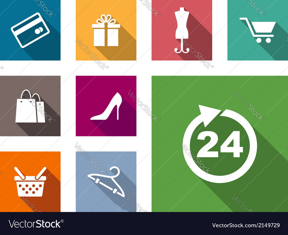 Flat shopping icons vector | Price: 1 Credit (USD $1)