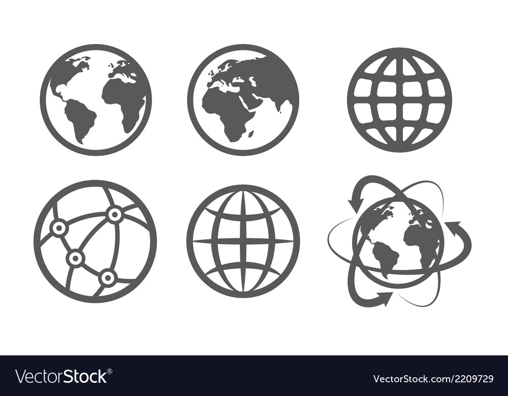 Globe earth icons set on white background vector | Price: 1 Credit (USD $1)