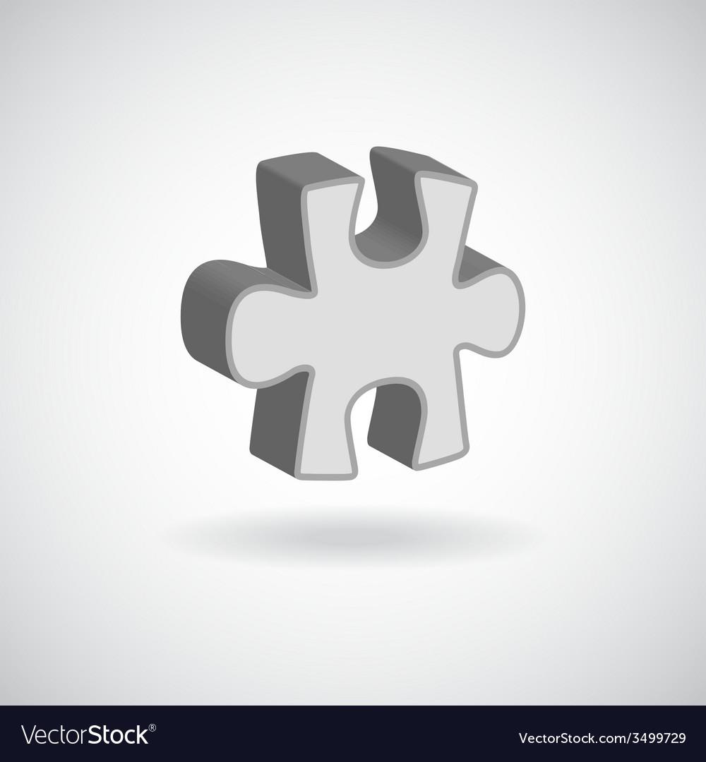 Glossy puzzle web icon design element grey vector | Price: 1 Credit (USD $1)