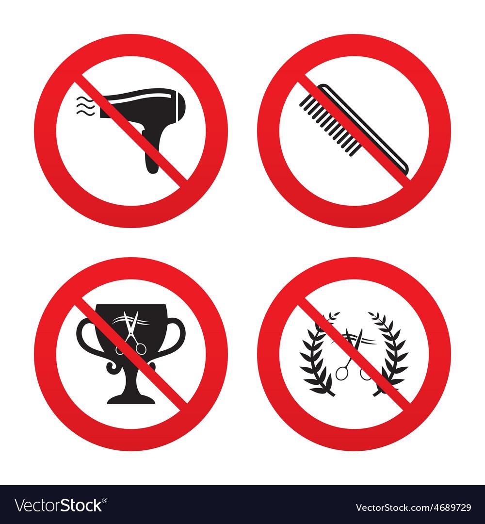 Hairdresser icons scissors cut hair symbol vector | Price: 1 Credit (USD $1)