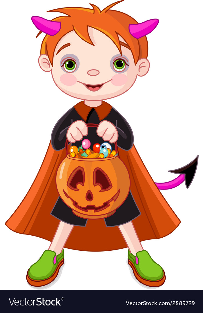 Halloween trick or treating boy vector | Price: 1 Credit (USD $1)