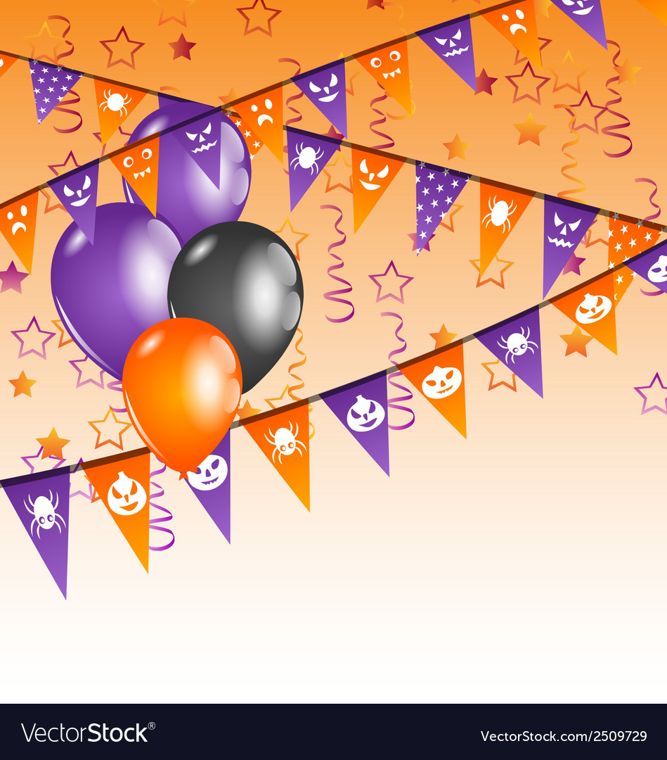 Hanging flags and balloons for halloween party vector | Price: 1 Credit (USD $1)