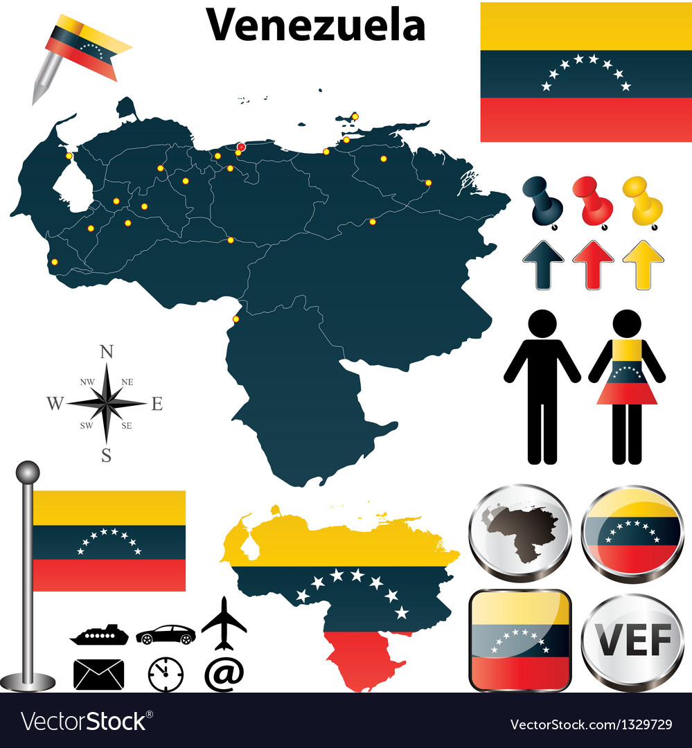 Map of venezuela vector | Price: 1 Credit (USD $1)