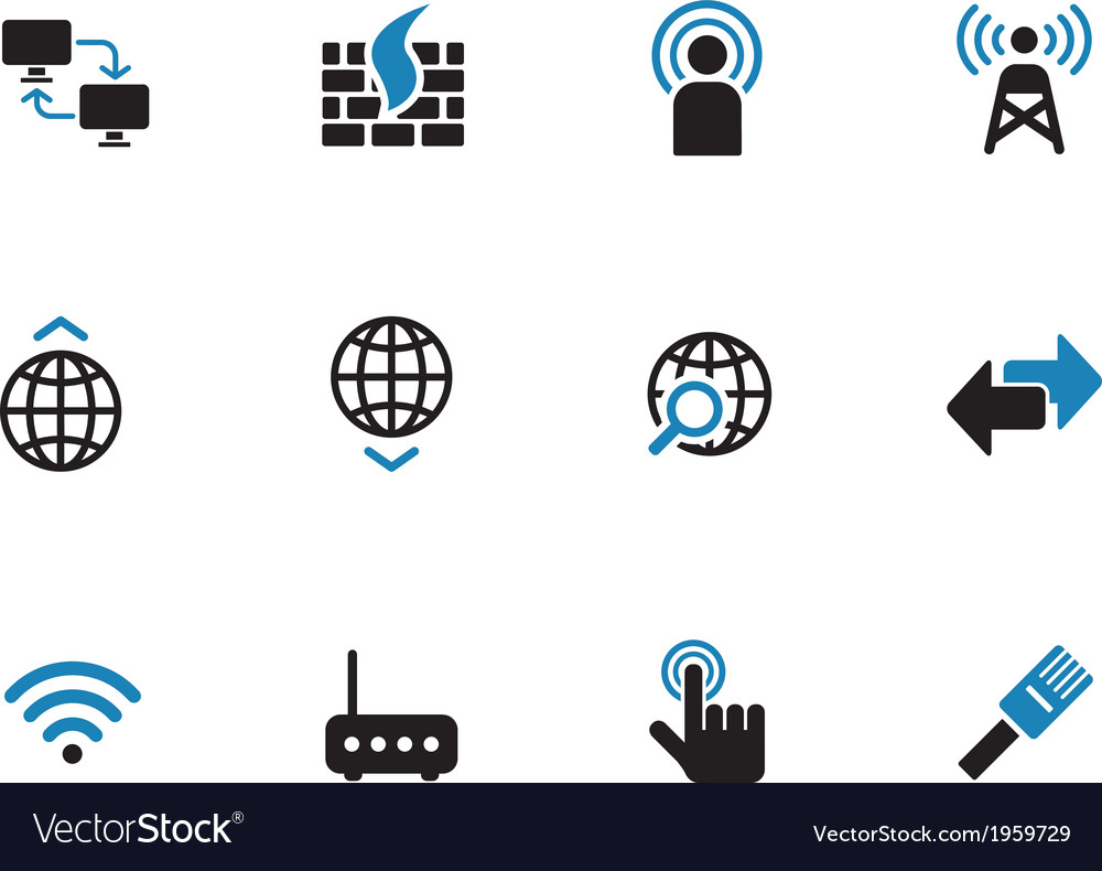 Networking duotone icons on white background vector | Price: 1 Credit (USD $1)