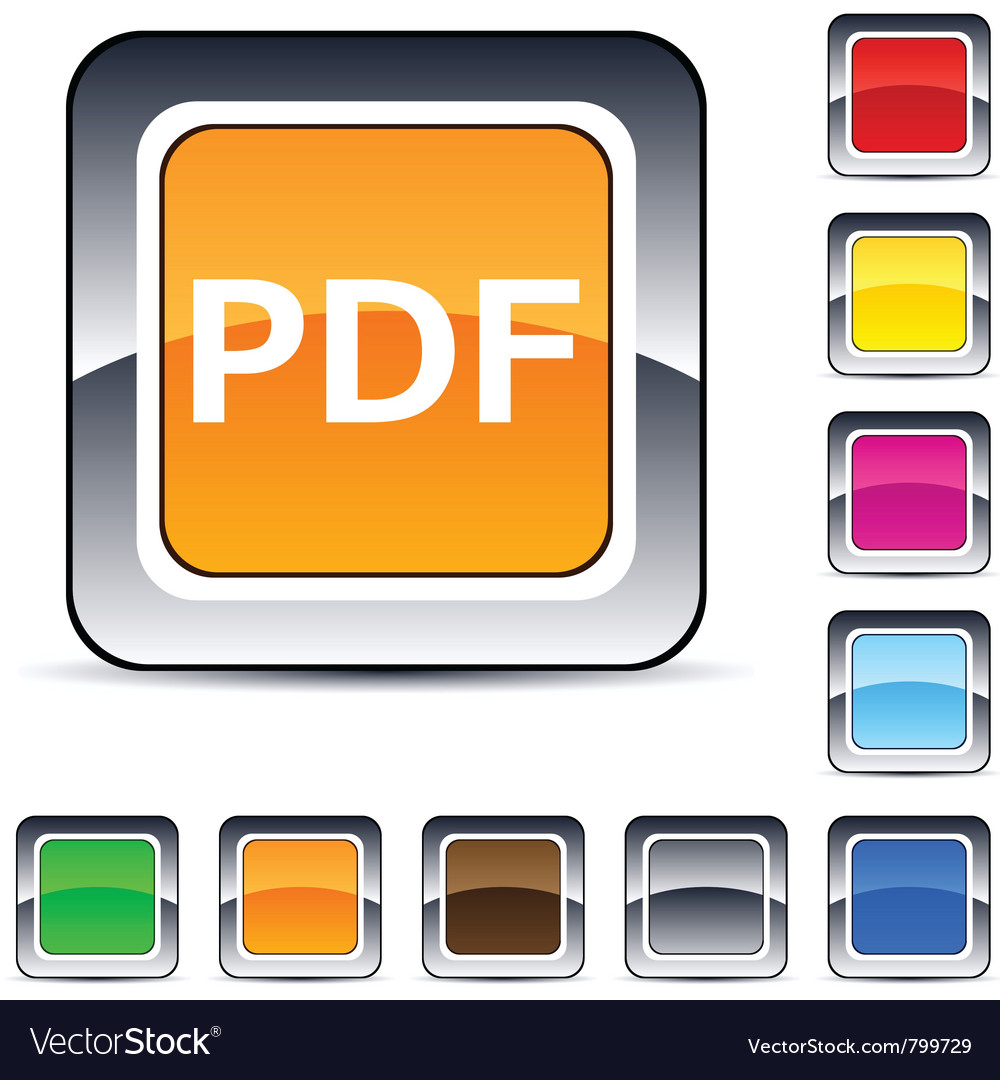 Pdf square button vector | Price: 1 Credit (USD $1)