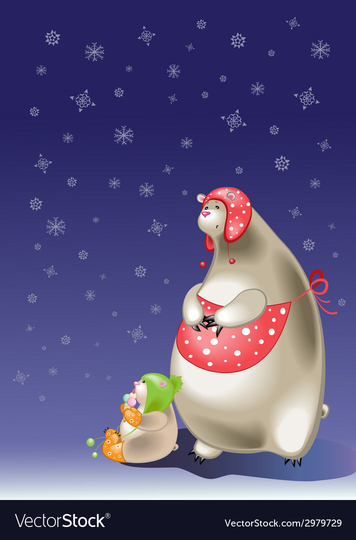Polar bear mother and son vector   Price: 1 Credit (USD $1)