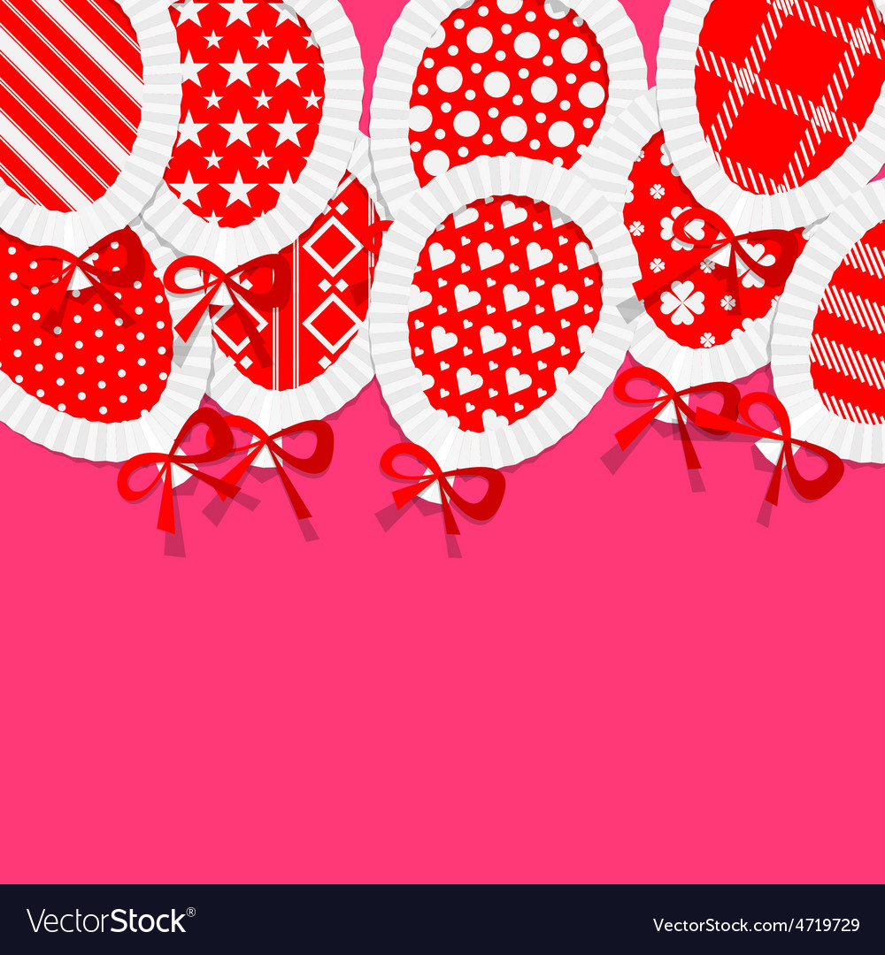 Simple red paper balloons with pattern fill lace vector | Price: 1 Credit (USD $1)