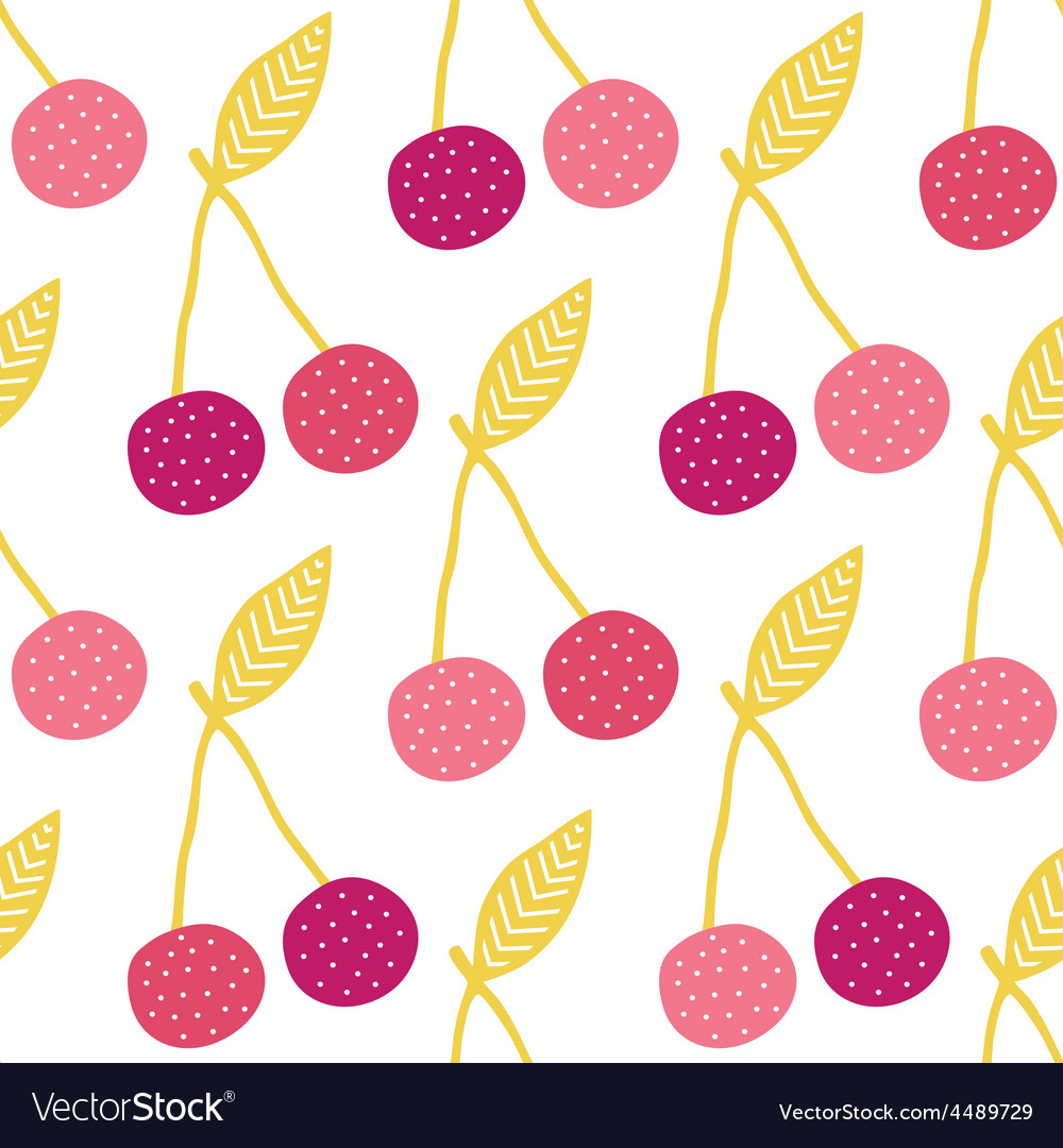 Yummy cherries seamless pattern background vector   Price: 1 Credit (USD $1)