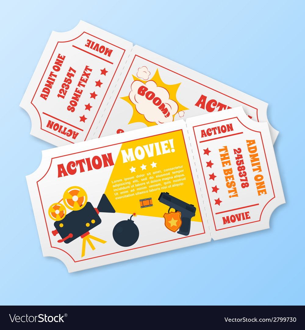 Action movie tickets set vector | Price: 1 Credit (USD $1)